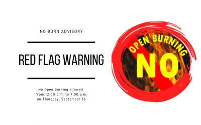 No Burn Advisory Due to Red Flag Warning