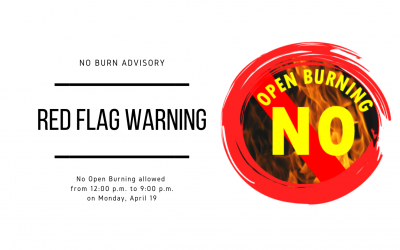 No Burn Advisory from 12 p.m.-9 p.m. Due to Red Flag Warning