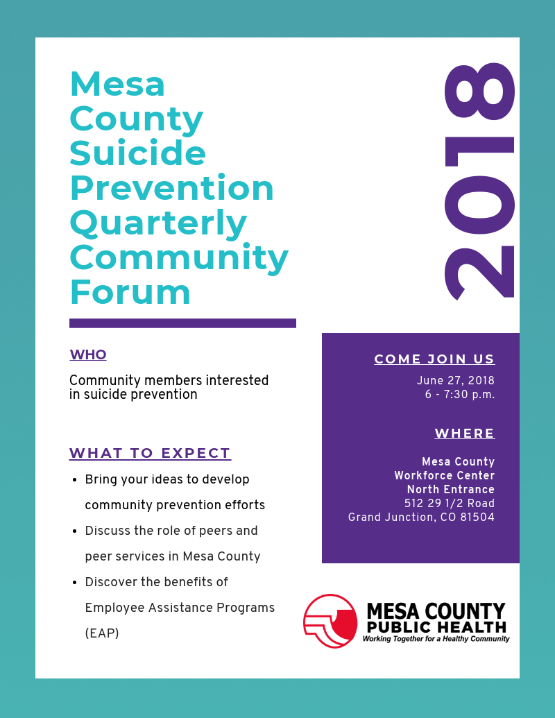 Public invited to June 27 quarterly suicide prevention forum