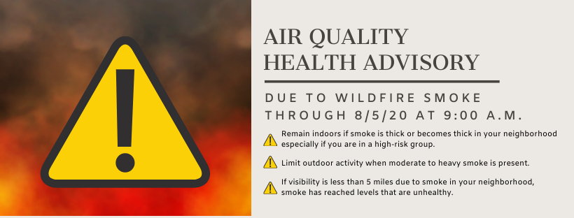 Air Quality Health Advisory Extended Due to Wildfire Smoke